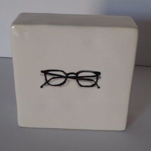 "Rae Dunn ""Glasses"" Plaque / Paperweight"